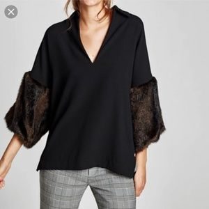 Zara top with faux fur sleeves size S